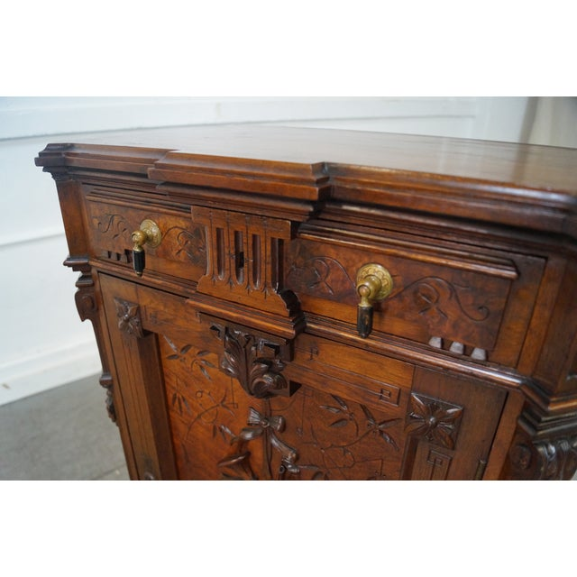 American Carved Walnut Cabinet For Sale - Image 5 of 10