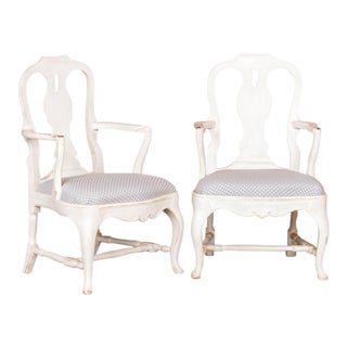 Late 19th Century Antique White Country Rococo Armchairs- A Pair For Sale