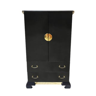 Black Ultra High Gloss Chinoiserie Armoire Cabinet For Sale