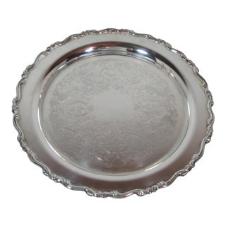 Georgian Scroll Silver Plate Round Tray For Sale
