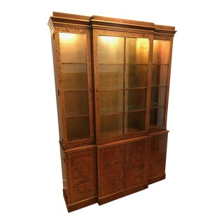 20th Century Chinoiserie Drexel Walnut China Cabinet For Sale