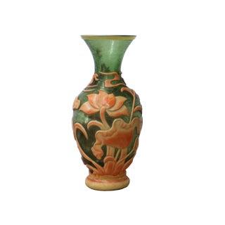 Chinese Peking Glass Green & Orange Handmade Kirin Lotus Vase