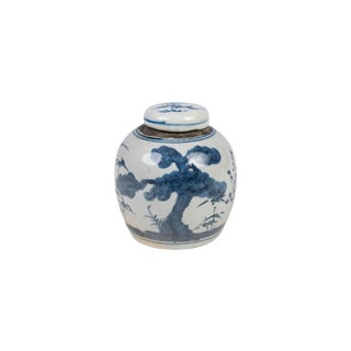 Blue and White Landscape Tree Porcelain Ginger Jar For Sale