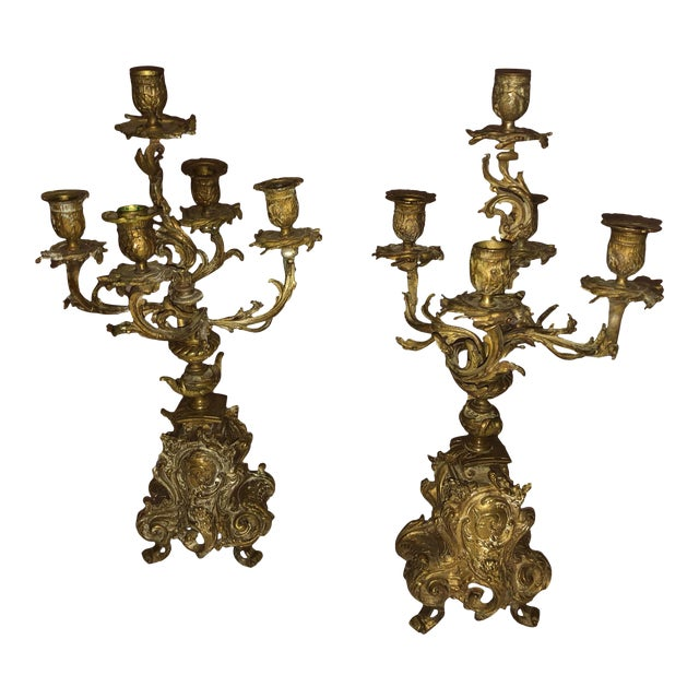 French Bronze Antique Candelabra - a Pair For Sale