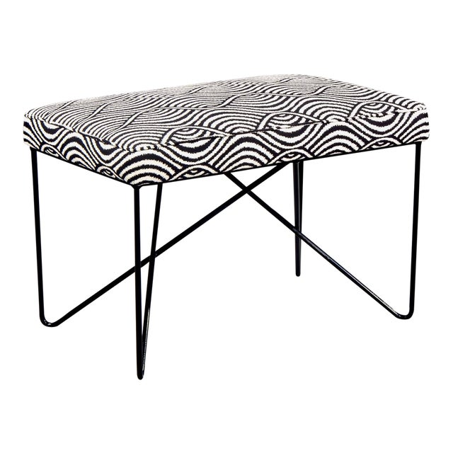 Italian Mid Century Style Bench With Black Iron Hairpin Legs For Sale