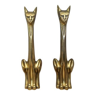 1950s Mid Century Siamese Cat Brass Andirons-a Pair For Sale