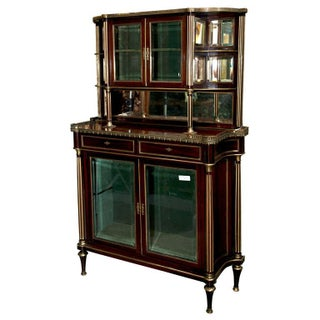 French Louis XIV Style Mahogany Server Cabinet Buffet Cupboard by Maisen Jansen For Sale
