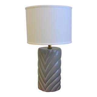 Vintage Gray Ceramic Lamp & White Linen Shade For Sale