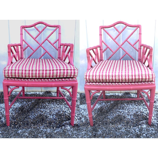 Hot Pink Faux Bamboo Chinese Chippendale Armchairs - Set of 6 For Sale - Image 6 of 13