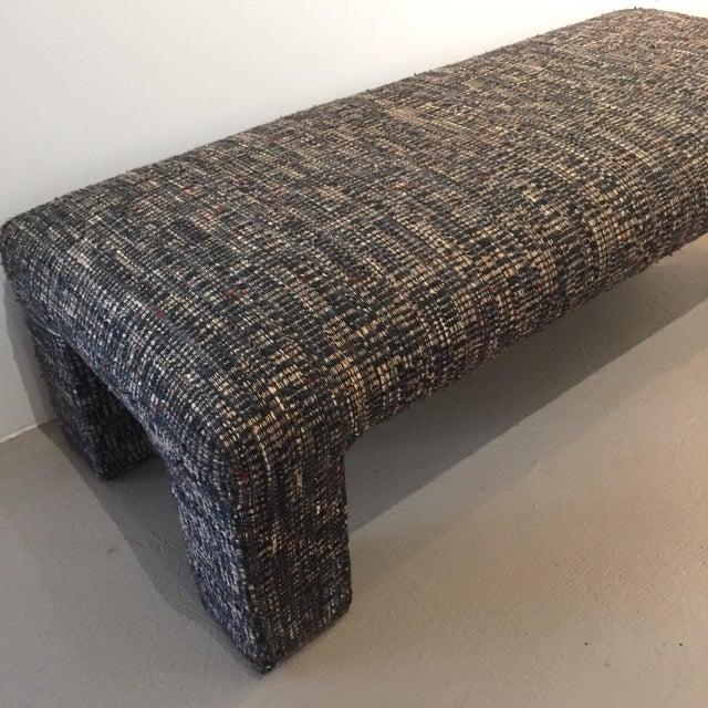 Vintage Tweed Upholstered Bench - Image 4 of 6
