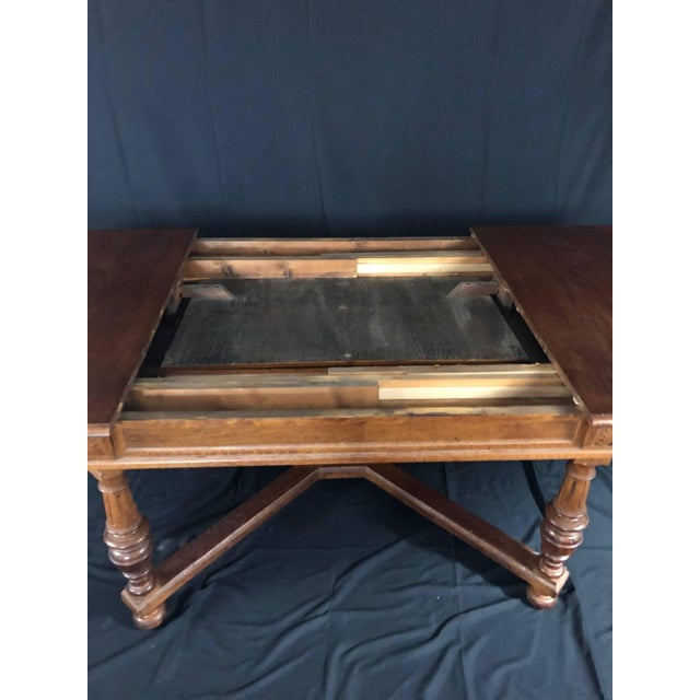 Arts & Crafts Carved Oak Arts and Crafts Art Deco French Expandable Dining Table For Sale - Image 3 of 13