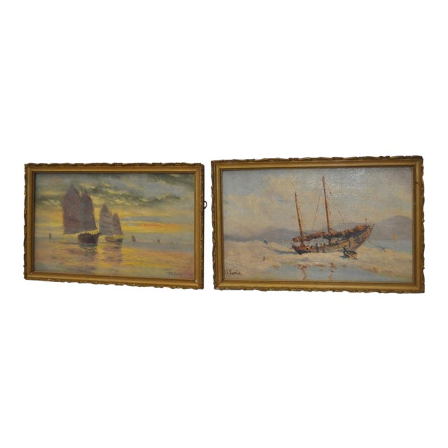 Early 20th Century Maritime Paintings by Thomas G. Purvis - a Pair For Sale