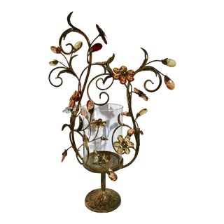 Hollywood Regency Hurricane Glass in Metal and Gem Flower Holder For Sale