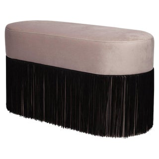 Pouf Pill Large Warm Grey in Velvet Upholstery With Fringes For Sale