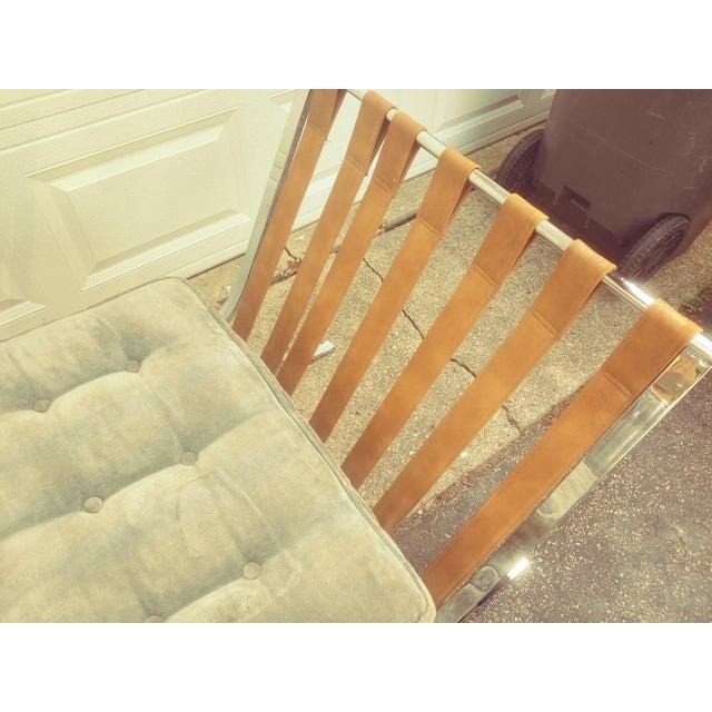 Light Gray Mid Century Italian Barcelona Cloth Chairs For Sale - Image 8 of 10