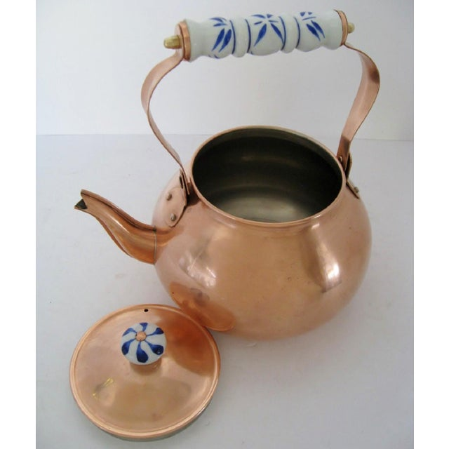 Mid 20th Century Copper & Porcelain Teapot For Sale - Image 5 of 7