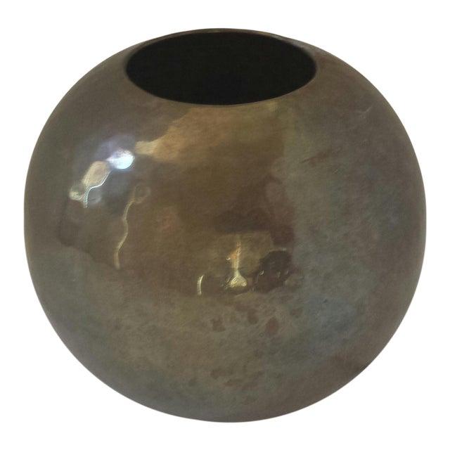 Vintage Hammered Brass Round Ball Vase - Image 1 of 5