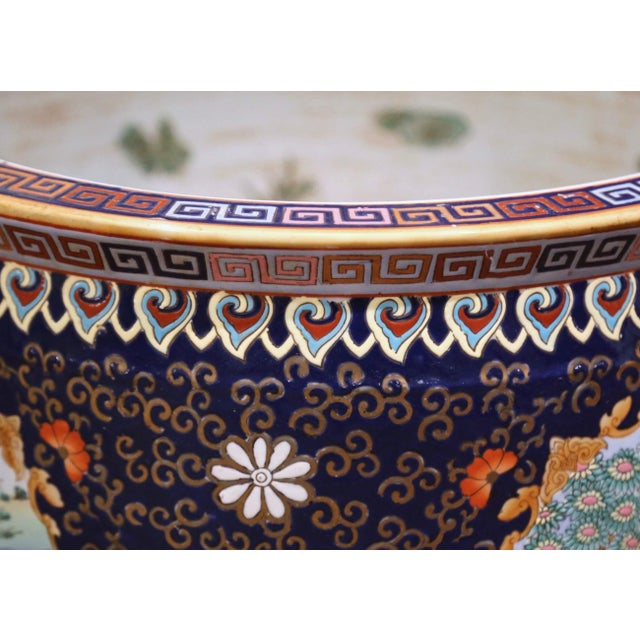 Mid 20th Century Midcentury Chinese Export Porcelain Fish Bowl With Oriental Decorations For Sale - Image 5 of 12