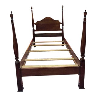 Vintage Traditional Cherry Twin Size Poster Bedframe For Sale