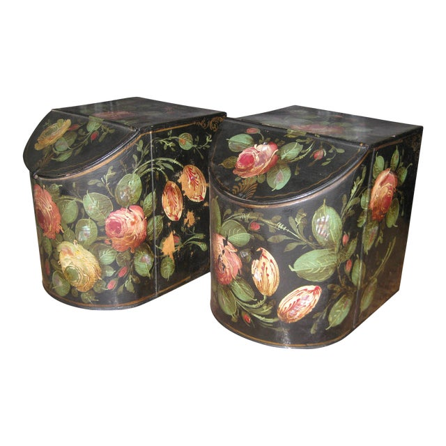 Antique English Painted Tole Storage Containers - Pair For Sale