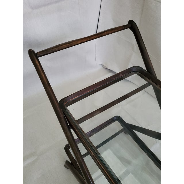 Wood 1950s Italian Mid-Century Modern Serving Bar Cart - in Manner of Ico Parisi For Sale - Image 7 of 12