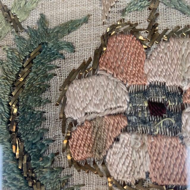 Metal Vintage Glass Framed Textile Tray For Sale - Image 7 of 13