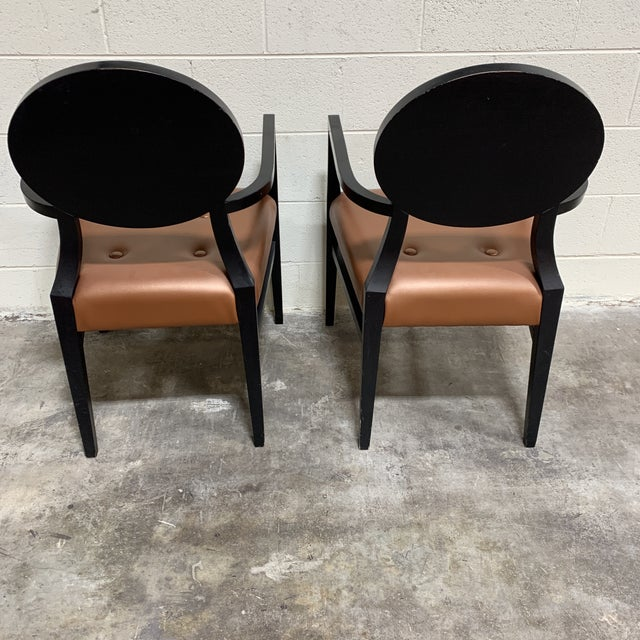 1980s Art Deco Style Accent Arm Chairs - a Pair For Sale - Image 5 of 13
