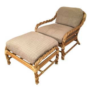 Mid 20th Century McGuire Twisted Rattan Lounge Chair With Ottoman- 2 Pieces For Sale