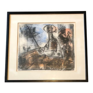 Original Vintage Mid Century Modern Abstract Lithograph Signed -1960's For Sale