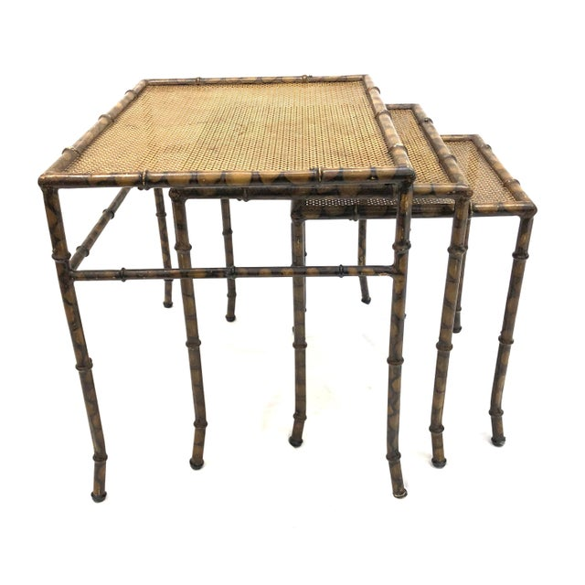 20th Century Chinoiserie Faux Painted Steel Bamboo Nesting Tables - Set of 3 For Sale - Image 4 of 12