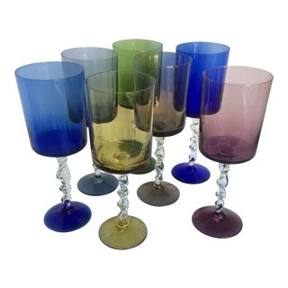 Hand Blown Multi Color Rope Twist Stemmed Crystal Cocktail Glasses - Set of 7 For Sale
