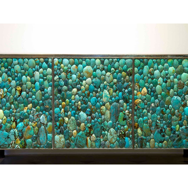 KAM TIN Kam Tin - Sideboard Covered With Real Turquoise Cabochons, France, 2013 For Sale - Image 4 of 10