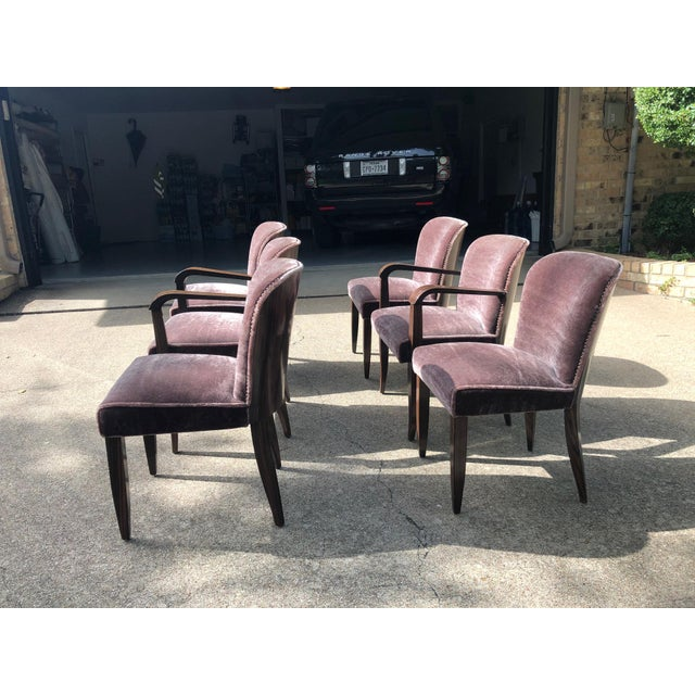 1930s Vintage Macassar and Mohair Dining Chairs - Set of 6 For Sale In Dallas - Image 6 of 11