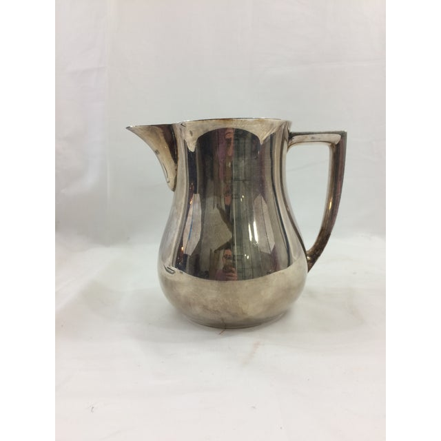 Metal 1950's Mid-Century Modern Silver-Plated Water Pitcher For Sale - Image 7 of 7