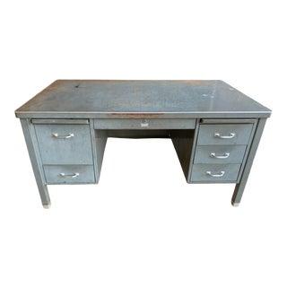 Vintage Mid-Century Modern Metal Tanker Desk For Sale