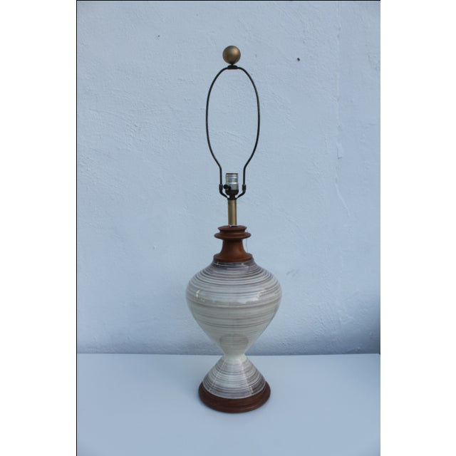 Vintage Danish Ceramic and Teak Table Lamp For Sale In Miami - Image 6 of 8