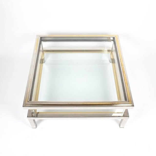 1970s Refurbished Maison Jansen Brass and Chrome Coffee Table with Interior Display For Sale - Image 5 of 8