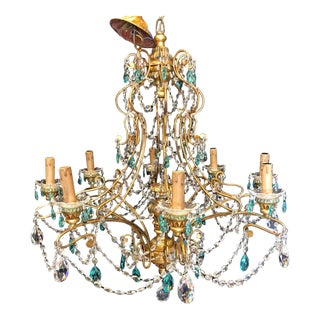 Neoclassical Handcrafted Italian Gilt Metal and Crystal Chandelier For Sale