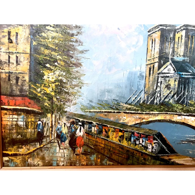 Blue Late 20th Century Notre Dame and the Seine Framed Oil on Canvas Painting For Sale - Image 8 of 10