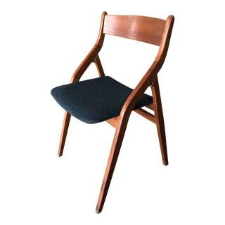 1960s Mid Century Modern Blue Upholstered Teak Side Chair