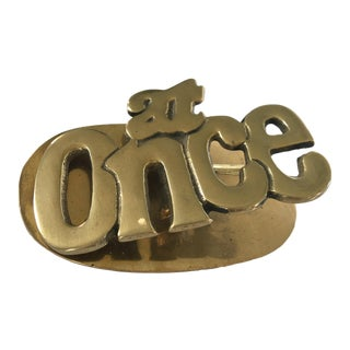 """1960s """"At Once"""" Mid-Century Modern Solid Brass Paper Clip For Sale"""