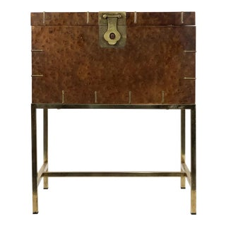 1950s Mid Century Modern Burl & Brass Storage Chest on Stand