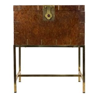 1950s Mid Century Modern Burl & Brass Storage Chest on Stand