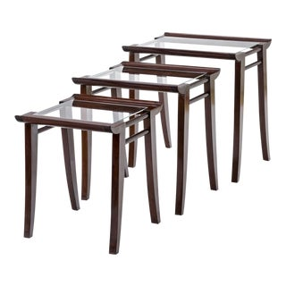 Maxime Old Superb Set of 3 Mahogany Nesting Tables For Sale