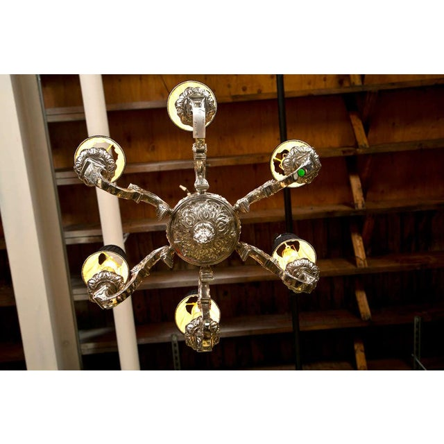 19th Century Silvered Bronze Chandelier - Image 7 of 9