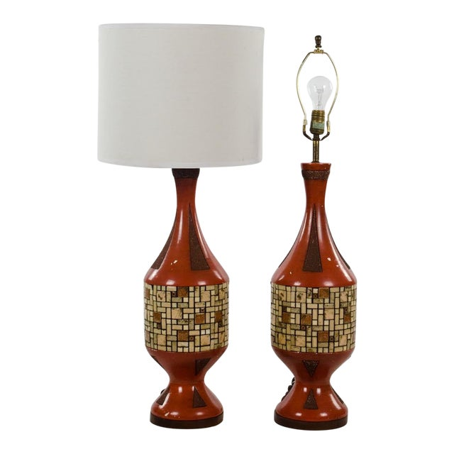 Mid-Century Ceramic and Tile Westwood Table Lamps - a Pair For Sale