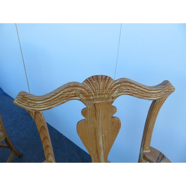 Early 20th Century English Pine Chippendale Carved Arm Chairs - a Pair For Sale In Philadelphia - Image 6 of 9