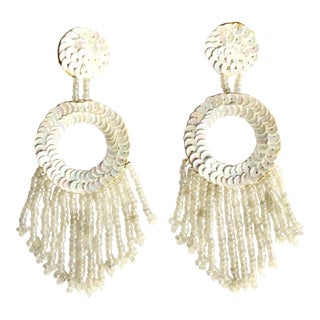 Bohemian Style Beaded and Sequences Creamy White Clip on Style Hoop Earring For Sale