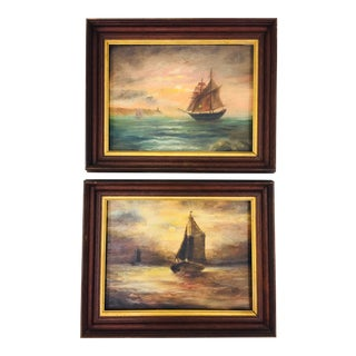 Antique Oob Seascape Paintings - a Pair For Sale