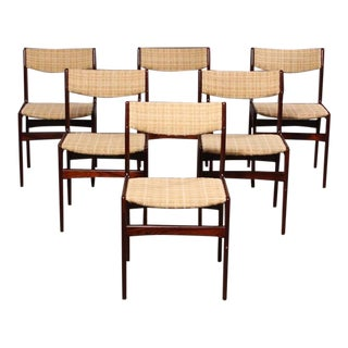 Mid-Century Danish Rosewood Veneer Dining Chairs - Set of 6 For Sale